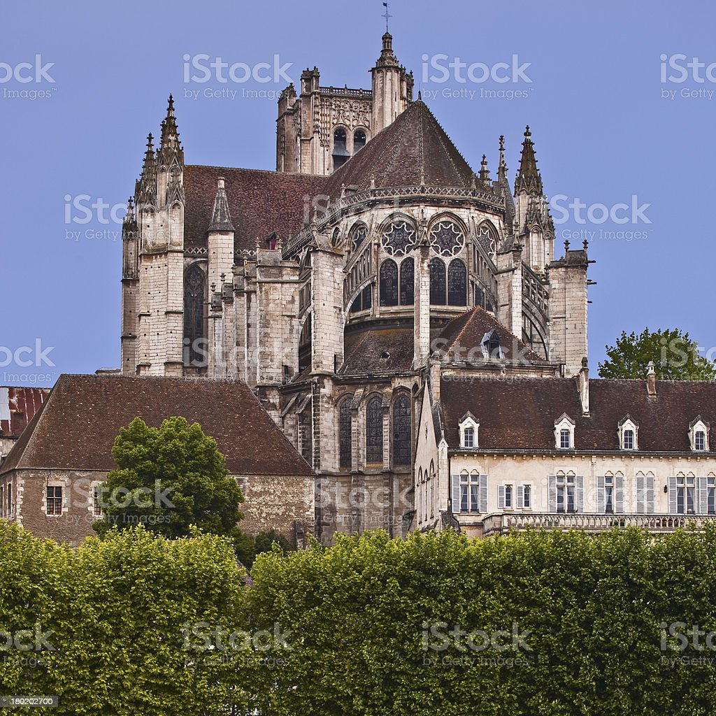 Auxerre cathedral stock photo