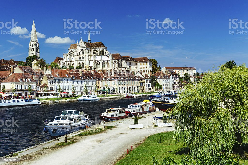 Auxerre city and River Yonne, France stock photo