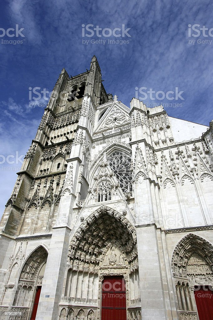 Auxerre Gothic cathedral royalty-free stock photo