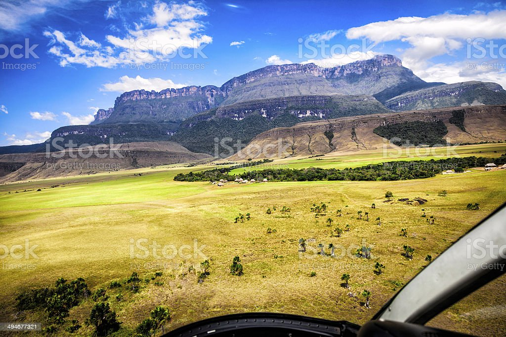 Auyan Tepuy and Uruyen View from Helicopter Cockpit, Gran Sabana royalty-free stock photo