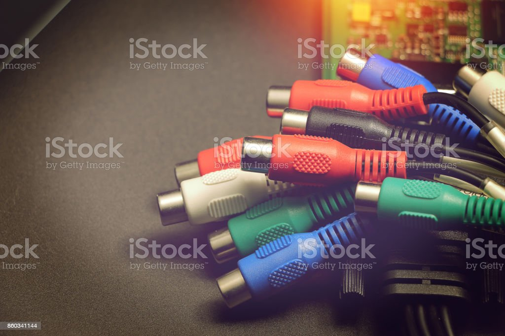 av cable for video card capture, video transfer cable stock photo