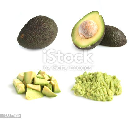 Series of avacado images studio isolated on reflective white background.  Composite of full resolution images of same avacado in various states - whole, halved, chopped, pureed/dip.