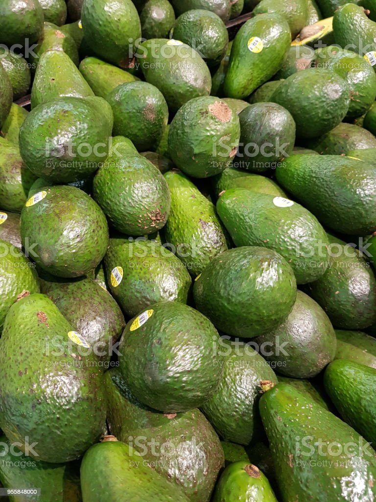 Avacados at the market stock photo
