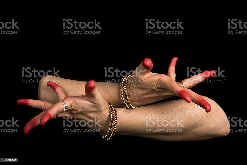 Avahittha hasta of indian dance Bharata Natyam stock photo