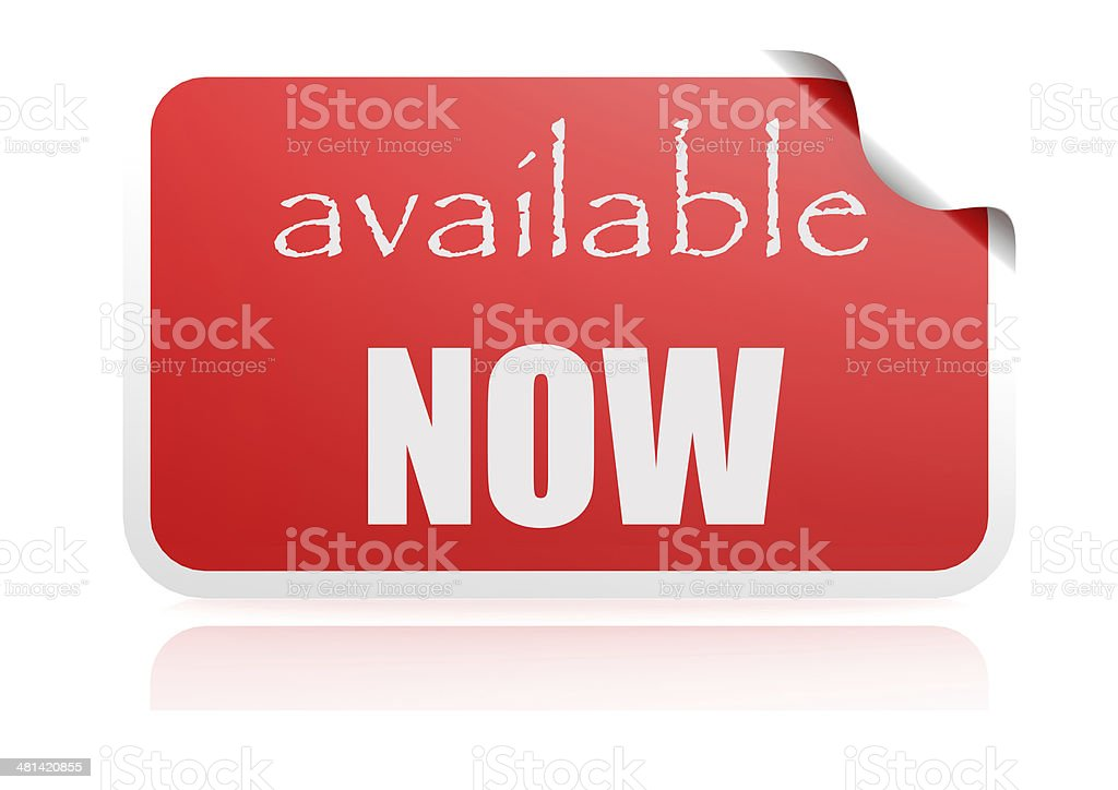 Available now red sticker stock photo