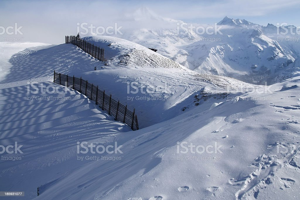 Avalanche barriers in Tignes, France stock photo