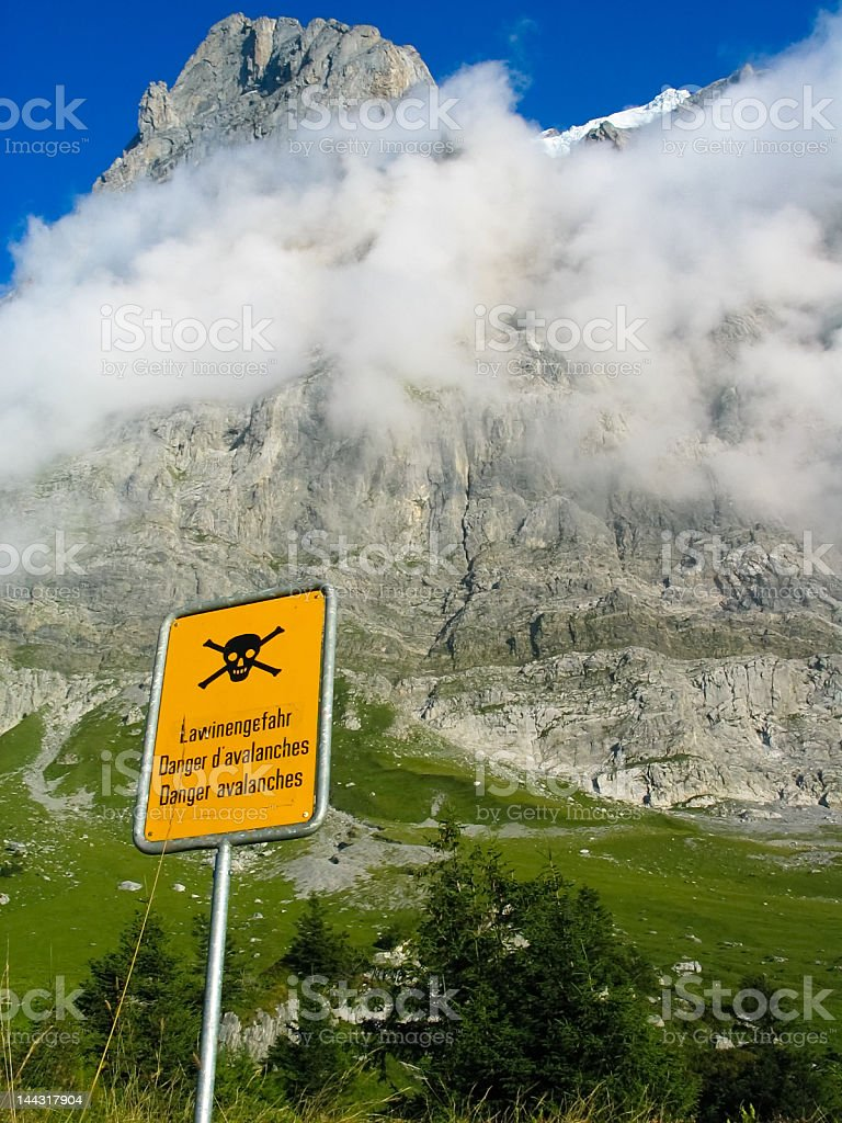 Sign warning of ice avalanche hazard in the Swiss Alps