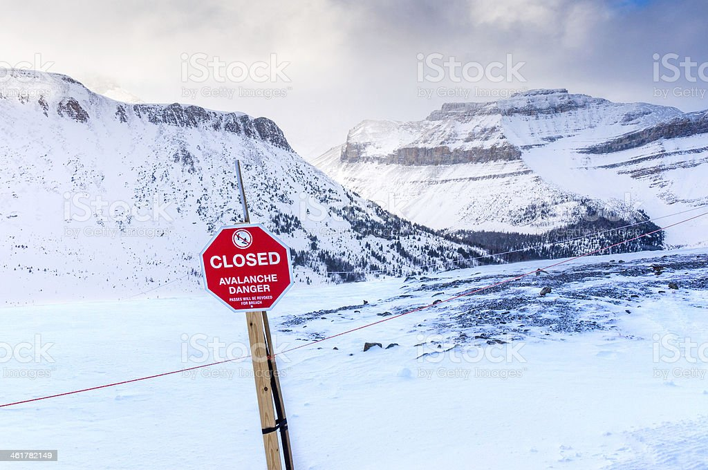 Avalanche Danger Sign stock photo