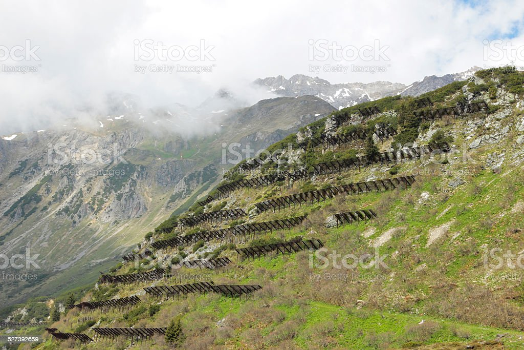 Avalanche defences stock photo
