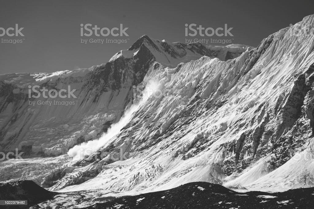 Large avalanche roaring down the massive face of Khangsar Kang , near...