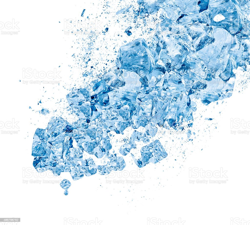 Avalanche, flood, shower of blue ice on white background stock photo