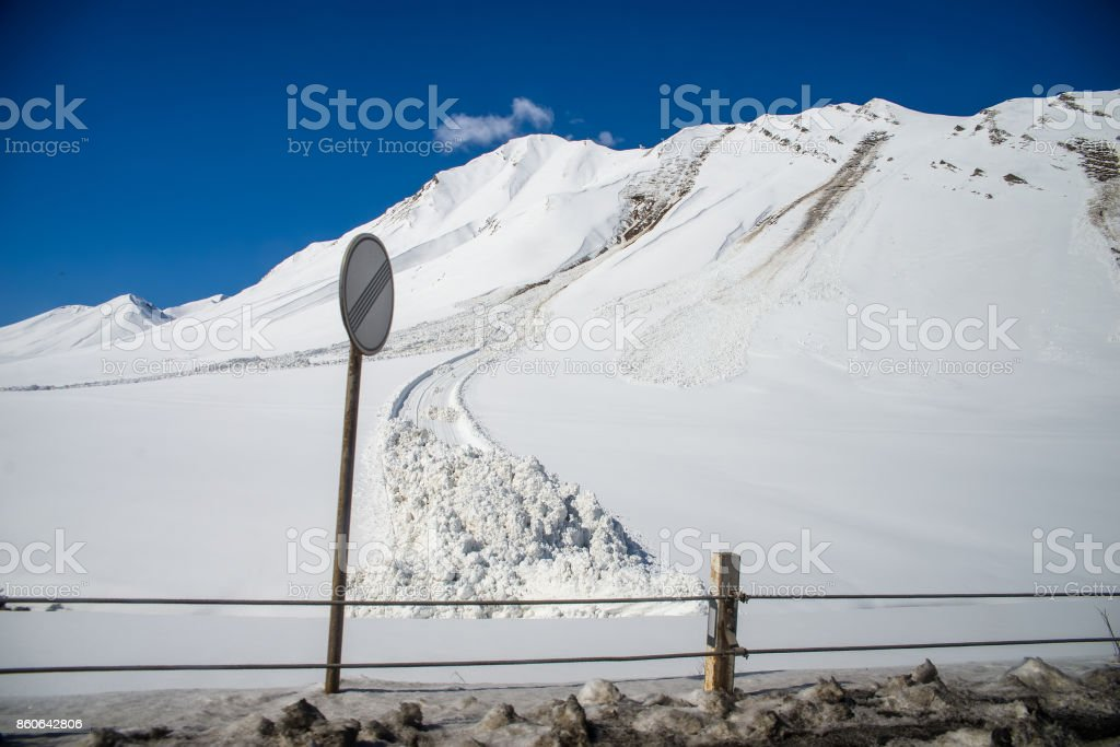 avalanche  in the Caucasian mountains stock photo
