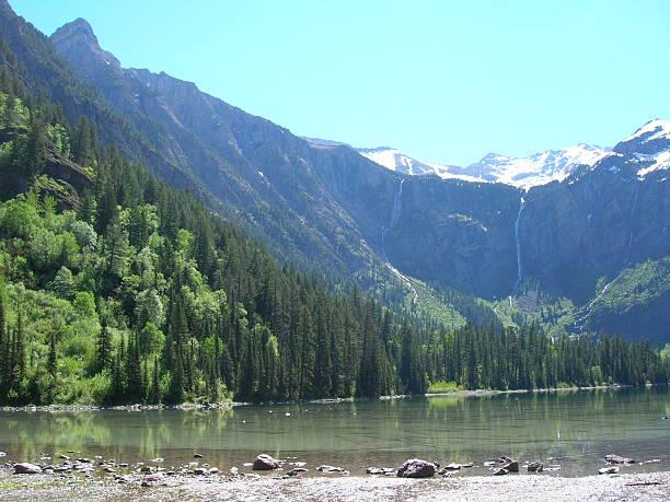Avalanche Lake 2 waterfalls stock photo