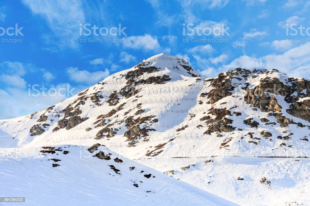 Avalanche protection barriers stock photo