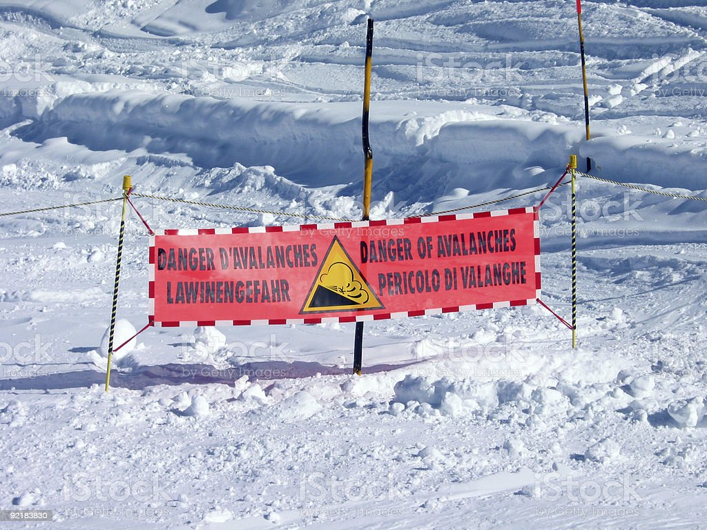 Avalanche Warning stock photo