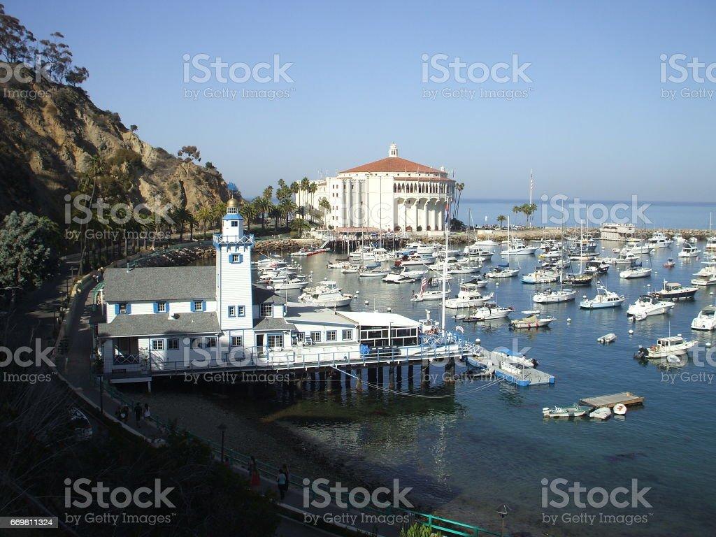 Avalon Harbor at Catalina Island stock photo