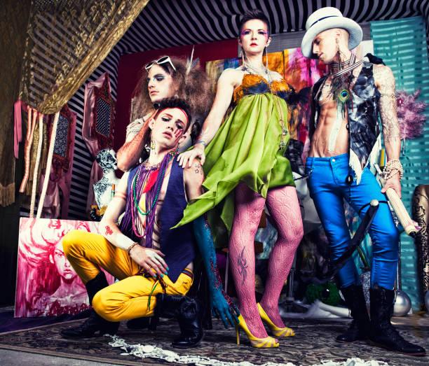 avant-garde-fashion - malerei schuhe stock-fotos und bilder