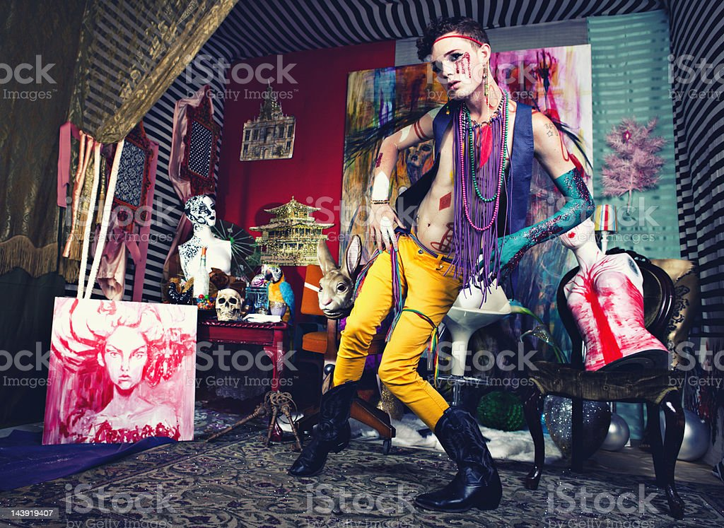 Avant-Garde Glam Punk Fashion stock photo