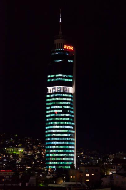 Avaz Twist Tower in Sarajevo at night stock photo
