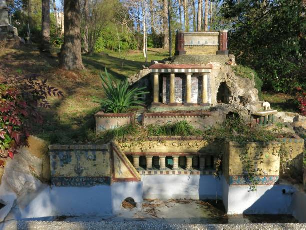 Ave Maria Grotto, Hanging Gardens at Babylon, Cullman, Alabama stock photo