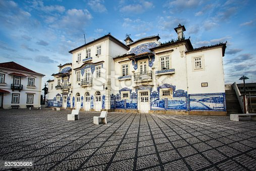 Wide angle shot of beautiful traditional railway station with azulejo tiles (Aveiro, Portugal)