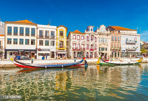 Aveiro - February 2019, Portugal: Colorful houses and boats in a small town also known as The Portuguese Venice