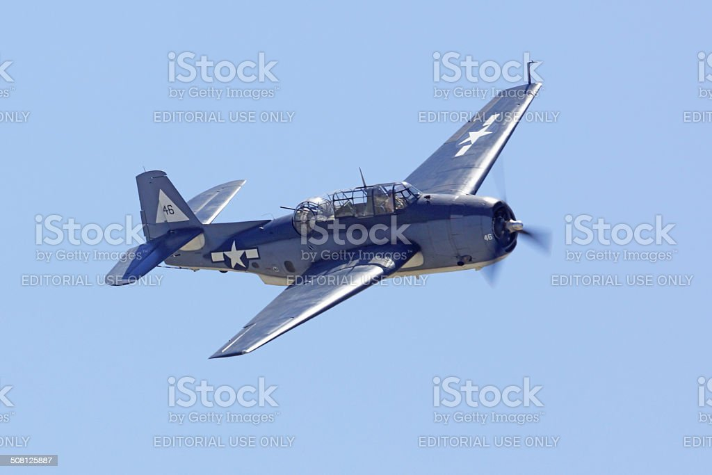 Avenger WWII Dive Bomber airplane stock photo