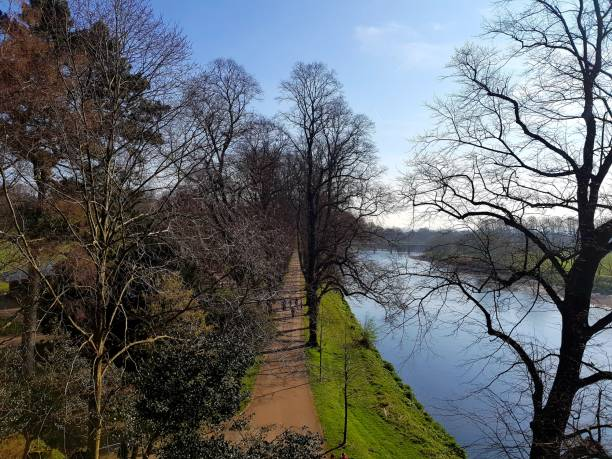 Avenham park and the river Ribble Springs morning in Preston miller park stock pictures, royalty-free photos & images