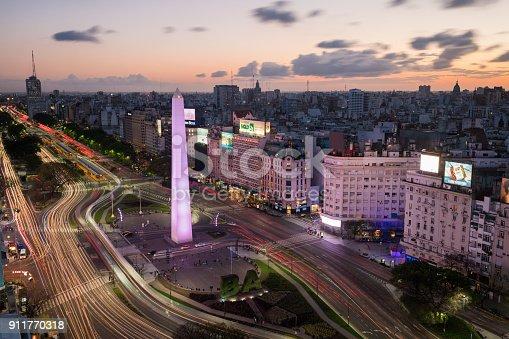 Avenida 9 de Julio with the Obelisco de Buenos Aires, Argentina at sunset