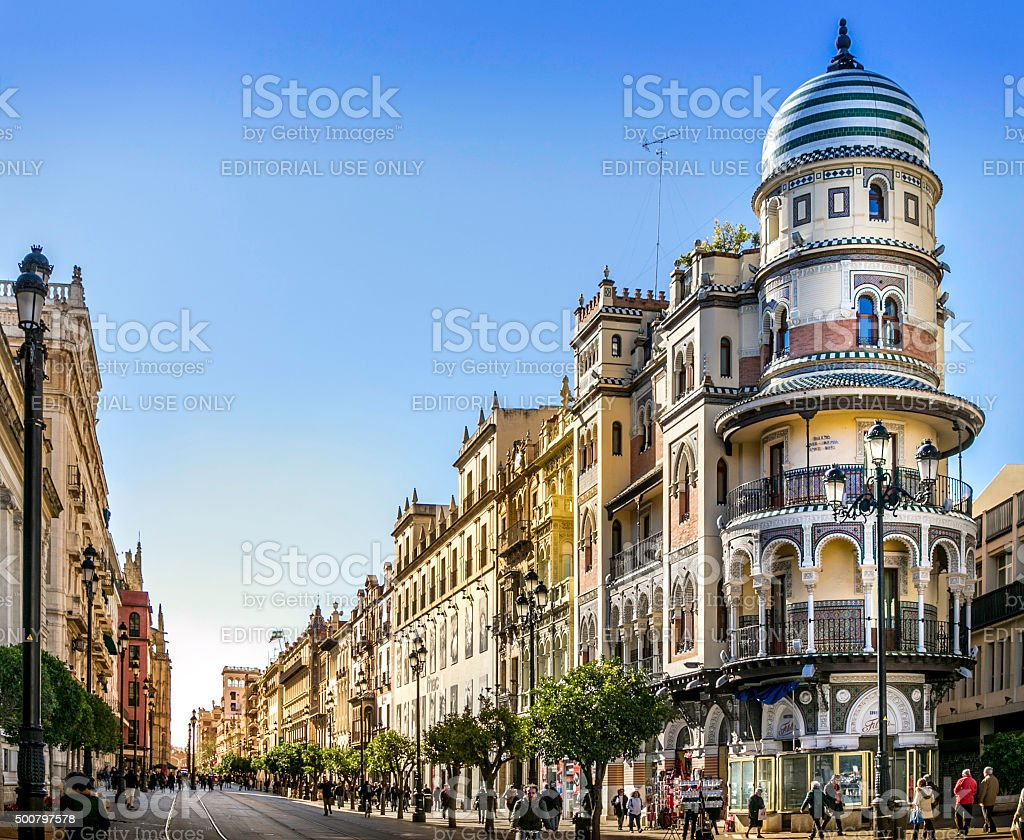 Avenida de la Constitucion, Seville, Spain stock photo