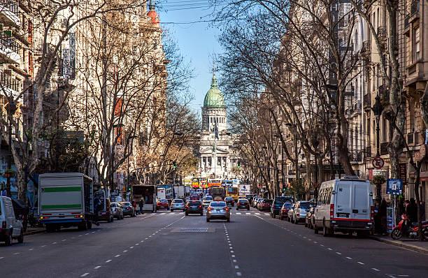 Avenida de Mayo en invierno, Buenos Aires, Argentina - foto de stock
