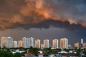 istock Aventura High Rise Buildings with Dark Sky 1226301350