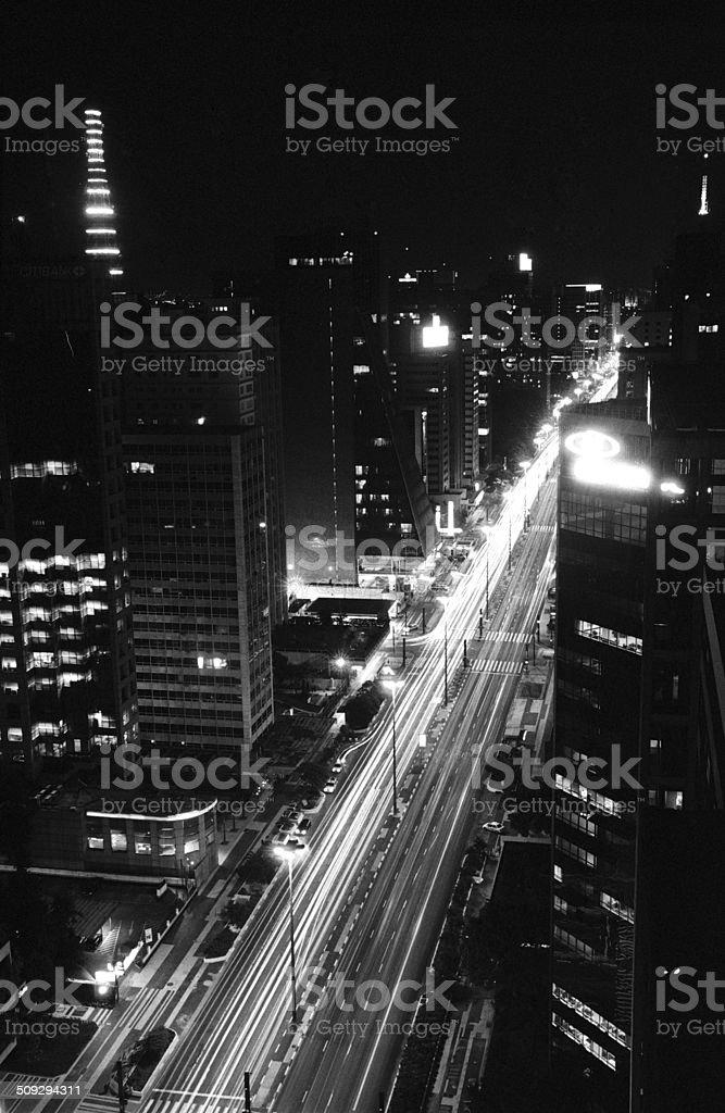 Avenue at night stock photo