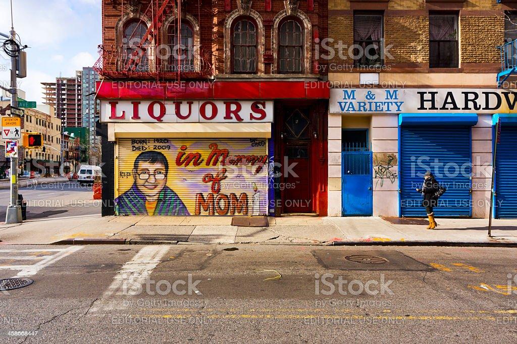 Avenue B in East Village New York stock photo