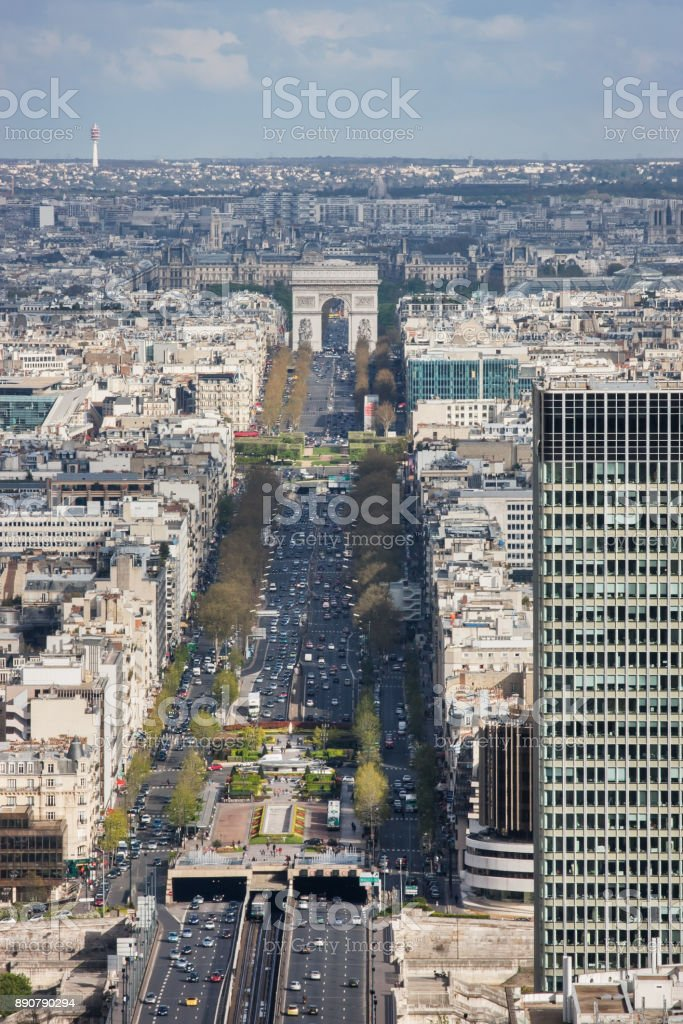 Avenue Charles de Gaulle and the Arc de Triomphe stock photo