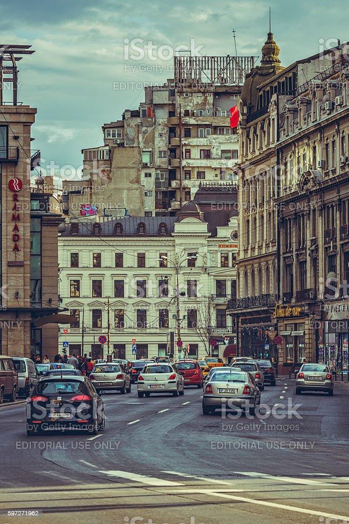 Avenue cityscape, Bucharest royalty-free stock photo