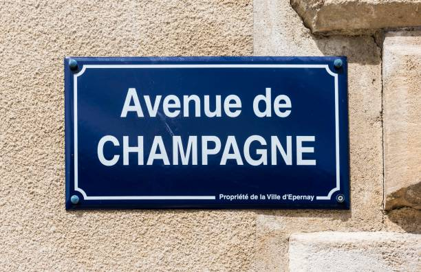 Avenue de Champagne Epernay: Road sign of the street 'Avenue de Champagne' at a wall in Champagne district, France. epernay stock pictures, royalty-free photos & images