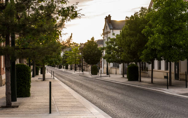 Avenue de Champagne Sunset Epernay, France - June 13, 2017: Avenue de Champagne with several Champagne houses along the road during sunset in Epernay, France. epernay stock pictures, royalty-free photos & images