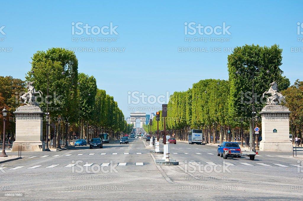 Avenue des Champs-Élysées from the Place de la Concorde.Paris, France. stock photo