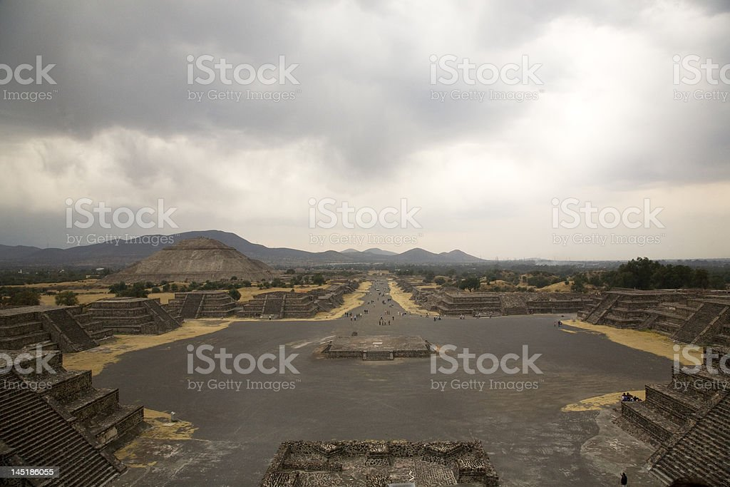 Avenue of Dead, Teotihuacan, Mexico Indian Ruins stock photo