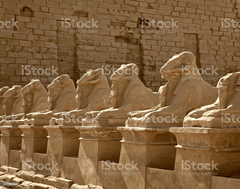 Avenue of Ram Sphinxes at Karnak Temple stock photo