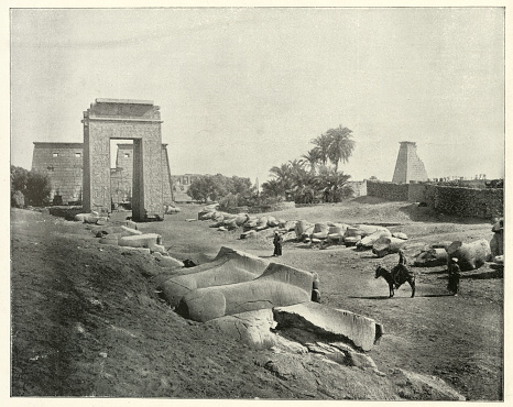 Antique photograph of Avenue of sphinxes, Karnak, Egypt, 19th Century