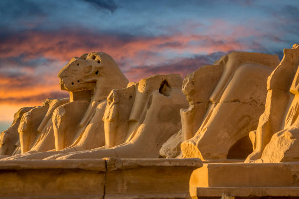 Avenue of the Ram-headed sphinx in Karnak temple, Egypt stock photo