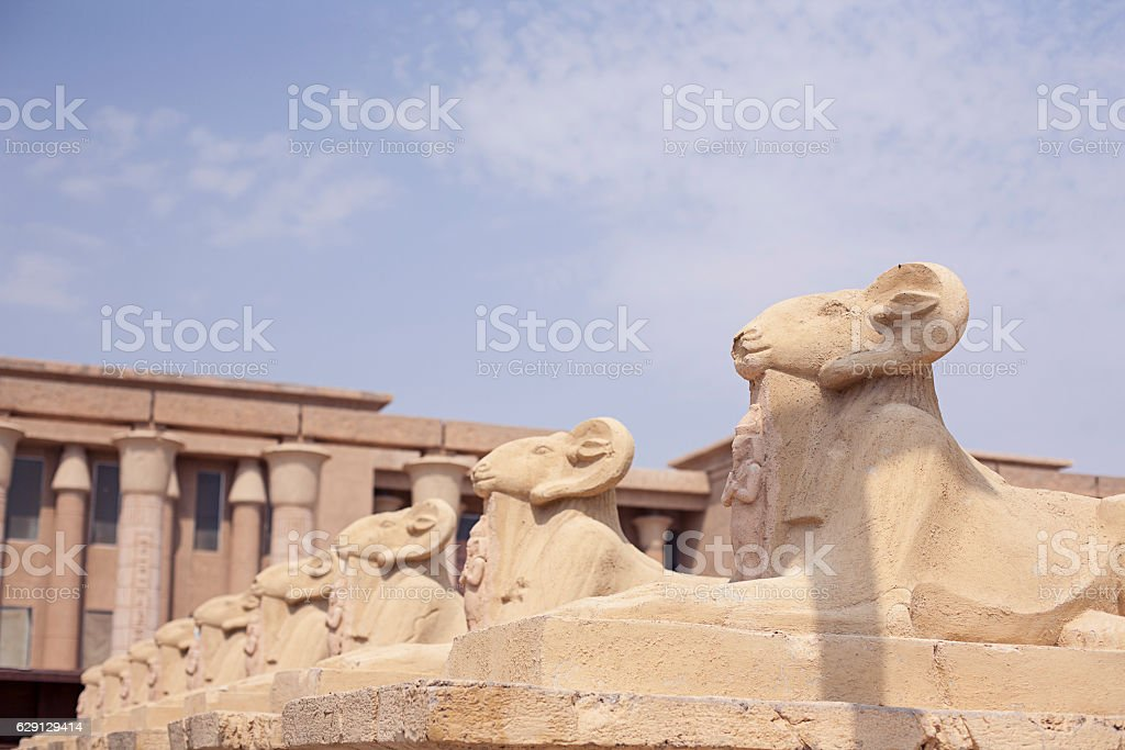 Avenue of the ram-headed Sphinxes stock photo