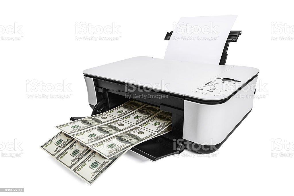 Average printer making fake one hundred dollar bills stock photo