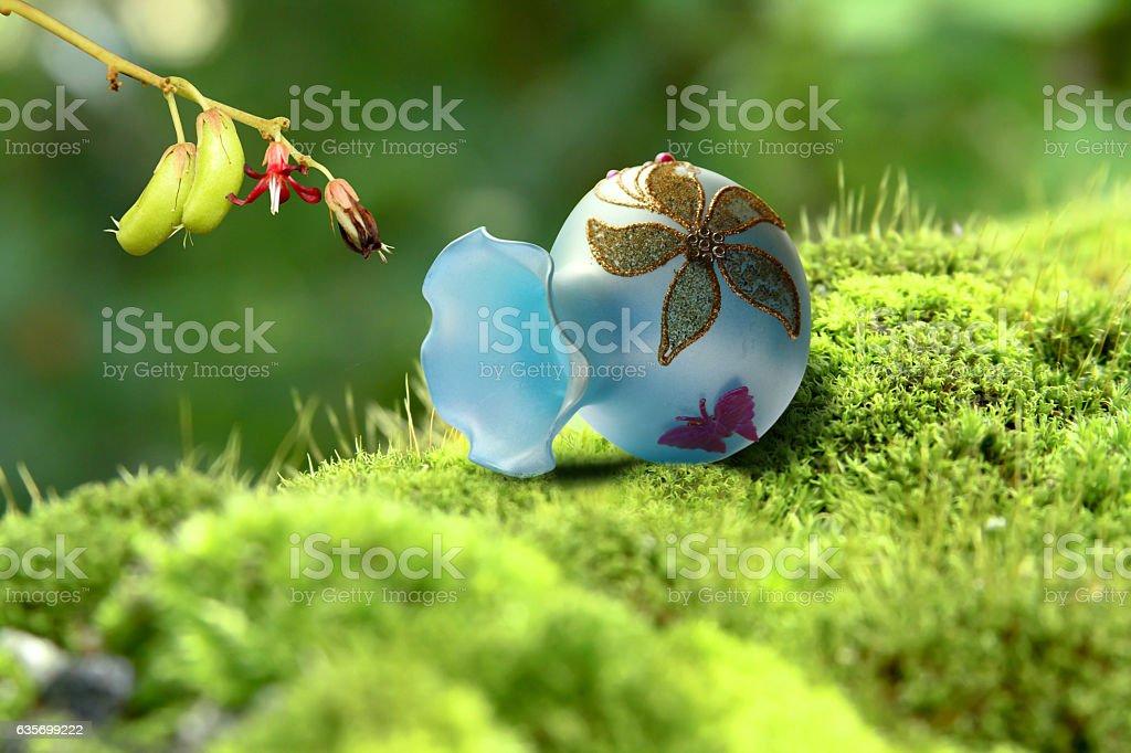 Averrhoa Bilimbi with flower & vase on grass royalty-free stock photo