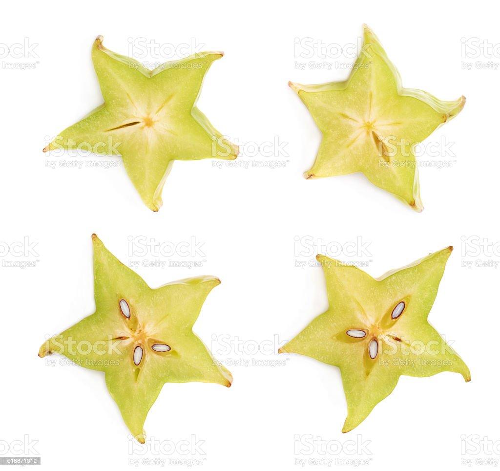 Averrhoa carambola starfruit cross-section isolated stock photo