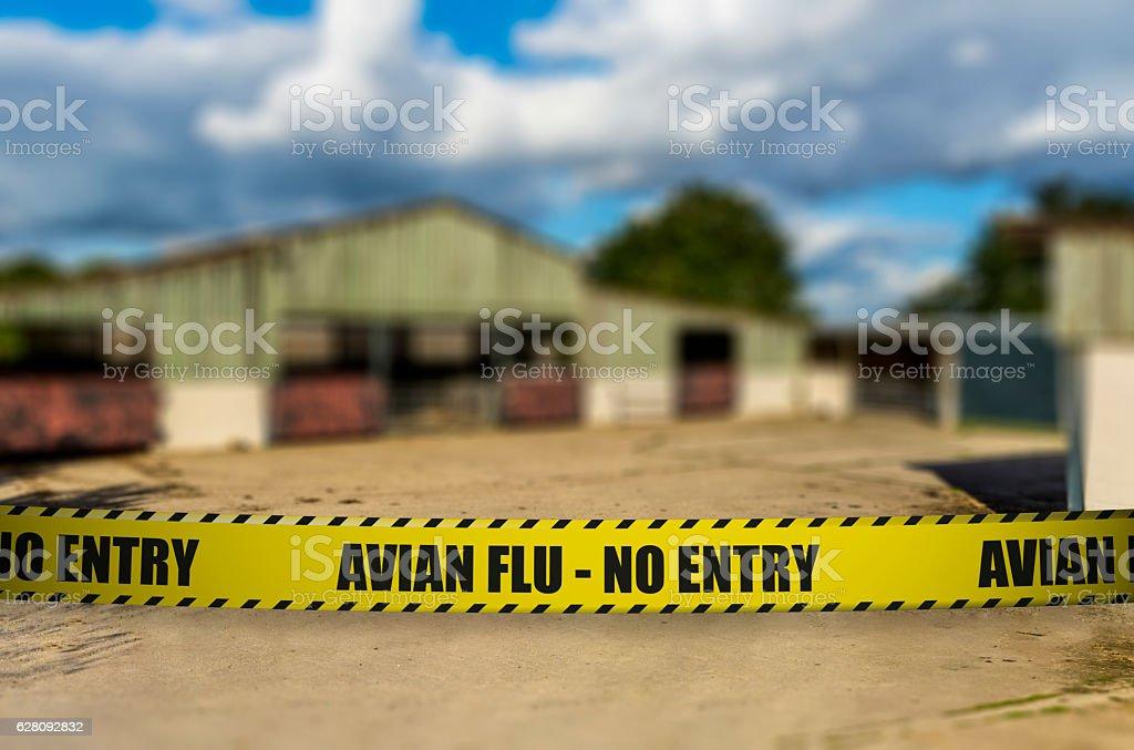 Avian Flu - No Entry - Closed Farm stock photo