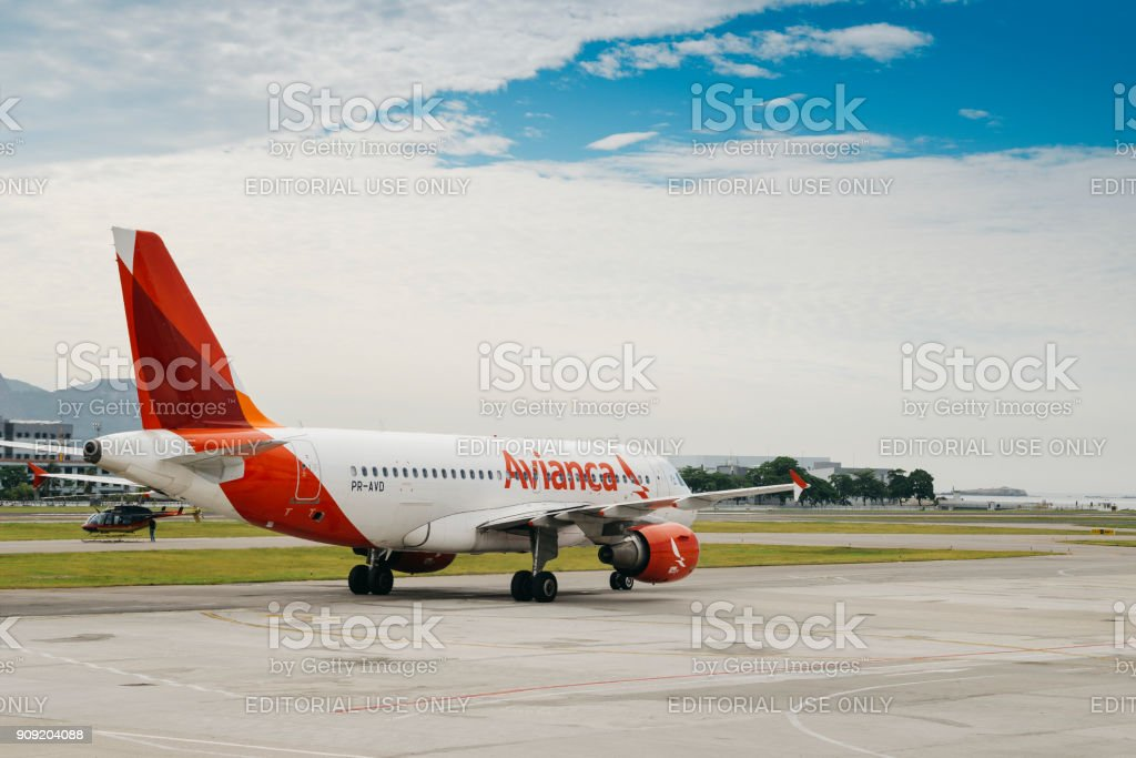 Avianca airline airplane taxiing at Rio de Janeiro's Santos Dumont airport