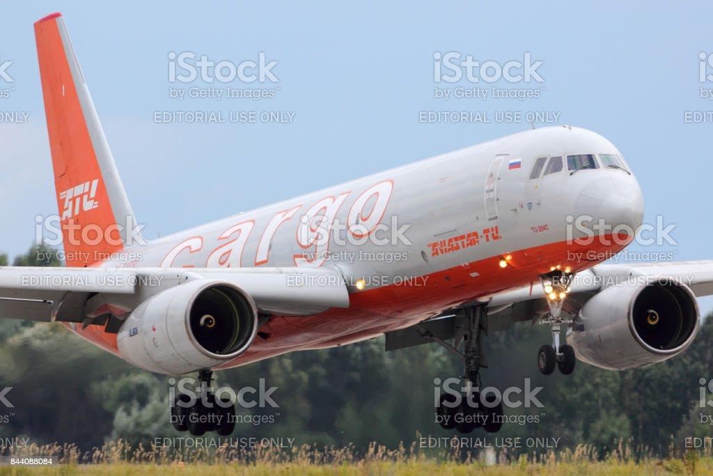Aviastar-Tu Tupolev Tu-204C RA-64032 landing at Zhukovsky. stock photo